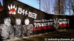 """Mural ku czci """"Żołnierzy Wyklętych"""" w andrychowskim parku miejskim"""