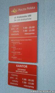 Godziny otwarcia urzędu pocztowego - Andrychów, ul. Krakowska 100